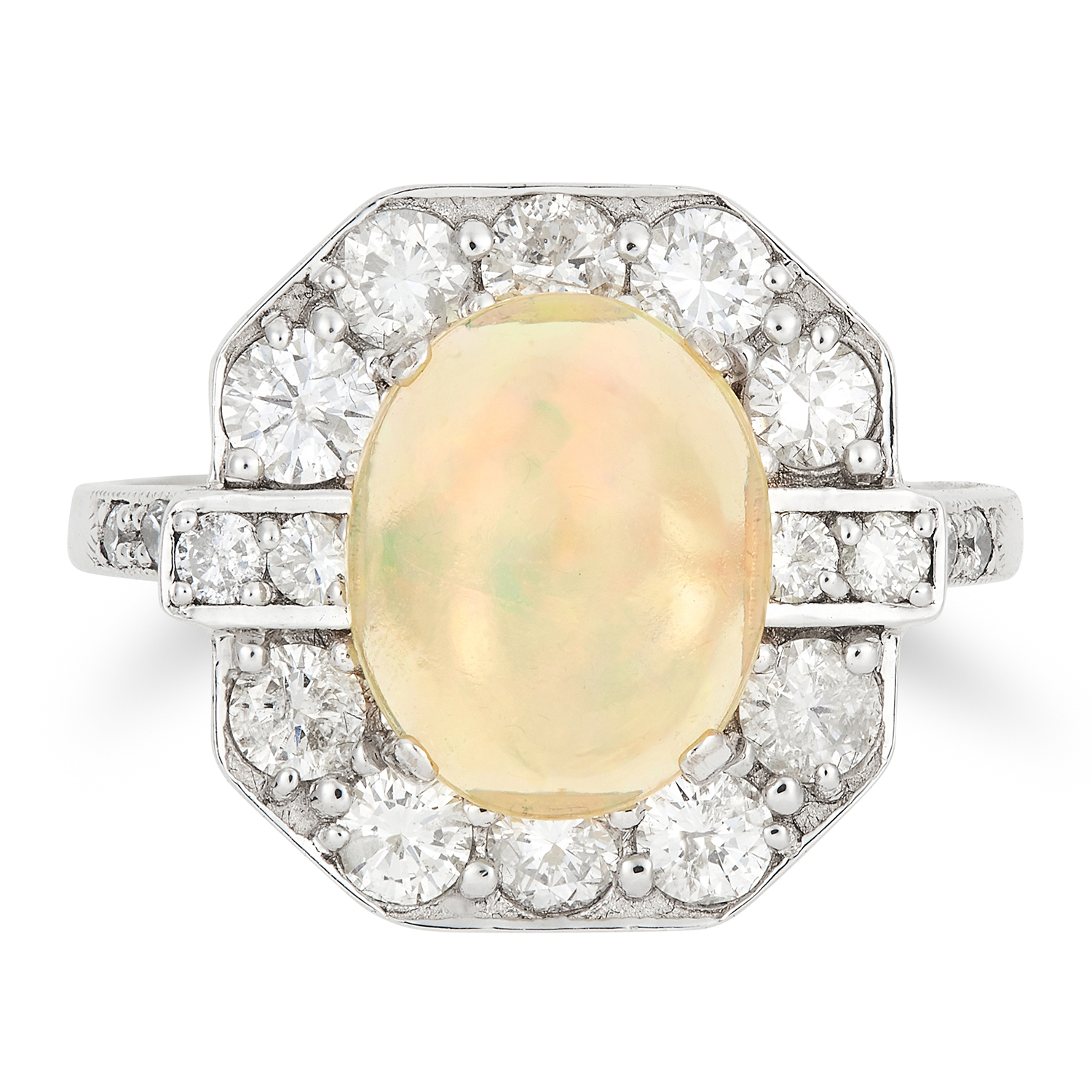 Los 55 - OPAL AND DIAMOND RING in Art Deco style, set with a cabochon opal in a border of round cut