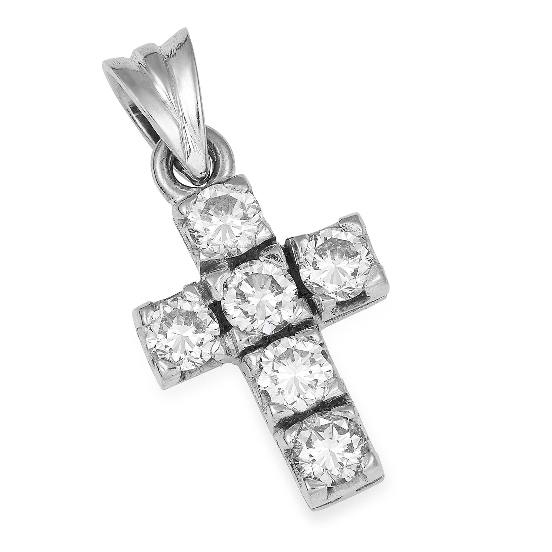 Los 50 - DIAMOND CROSS PENDANT set with round cut diamonds totalling 1.15 carats, 2.2cm, 3.3g.