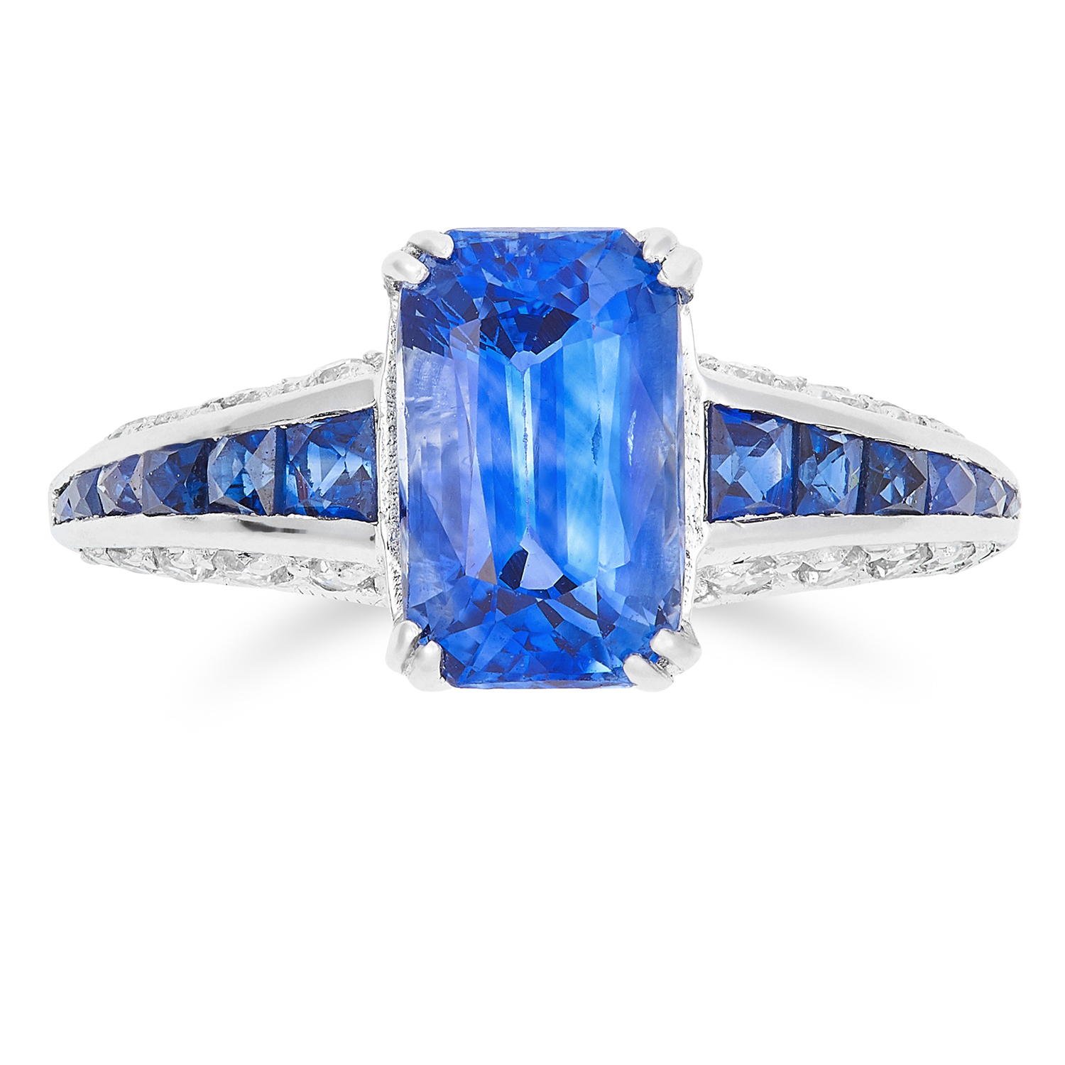 Los 16 - UNHEATED 2.54 CARAT SAPPHIRE AND DIAMOND RING set with a rectangular modified brilliant cut sapphire
