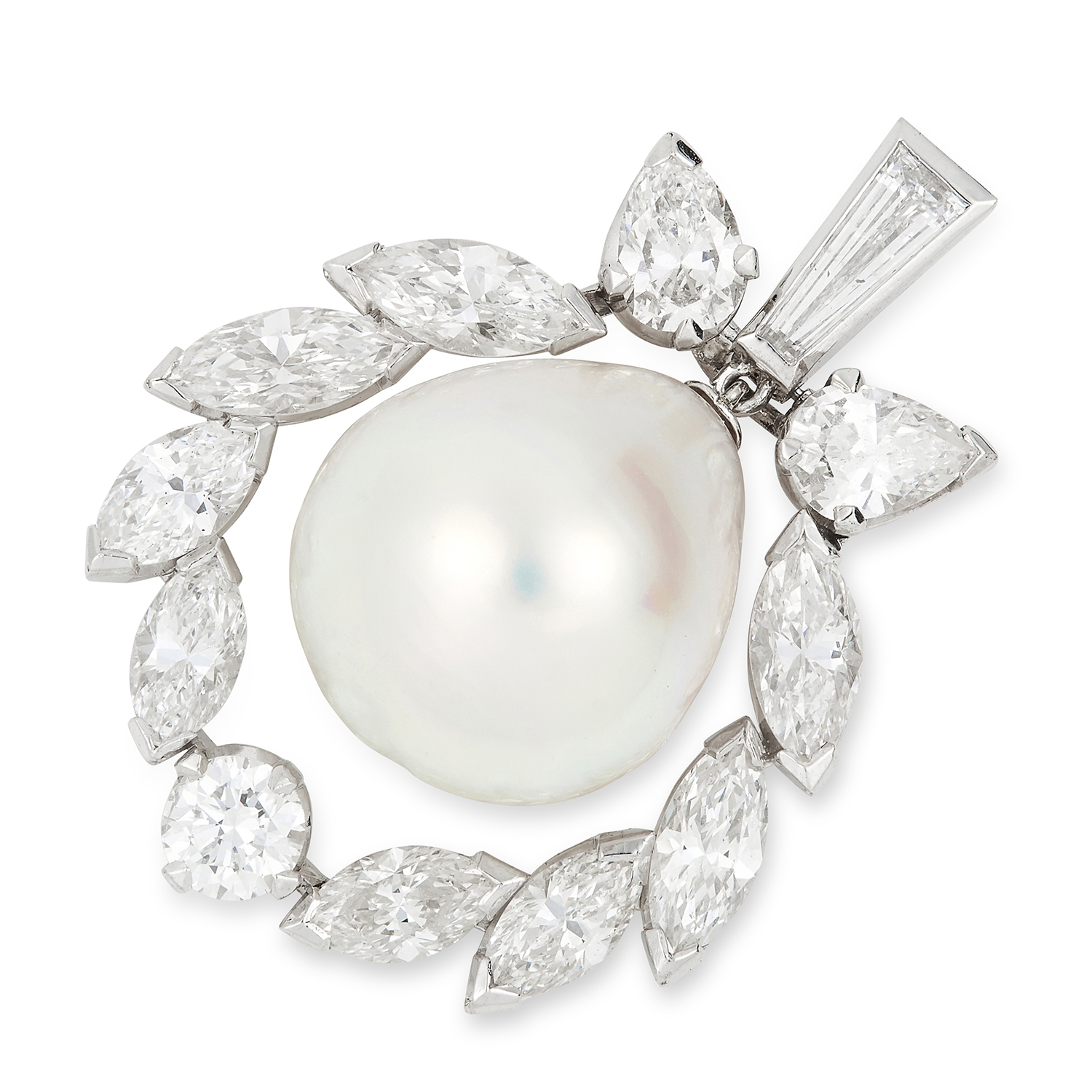 Los 1 - NATURAL PEARL AND DIAMOND PENDANT set with a pearl of 14.4mm encircled by a halo of round, pear,