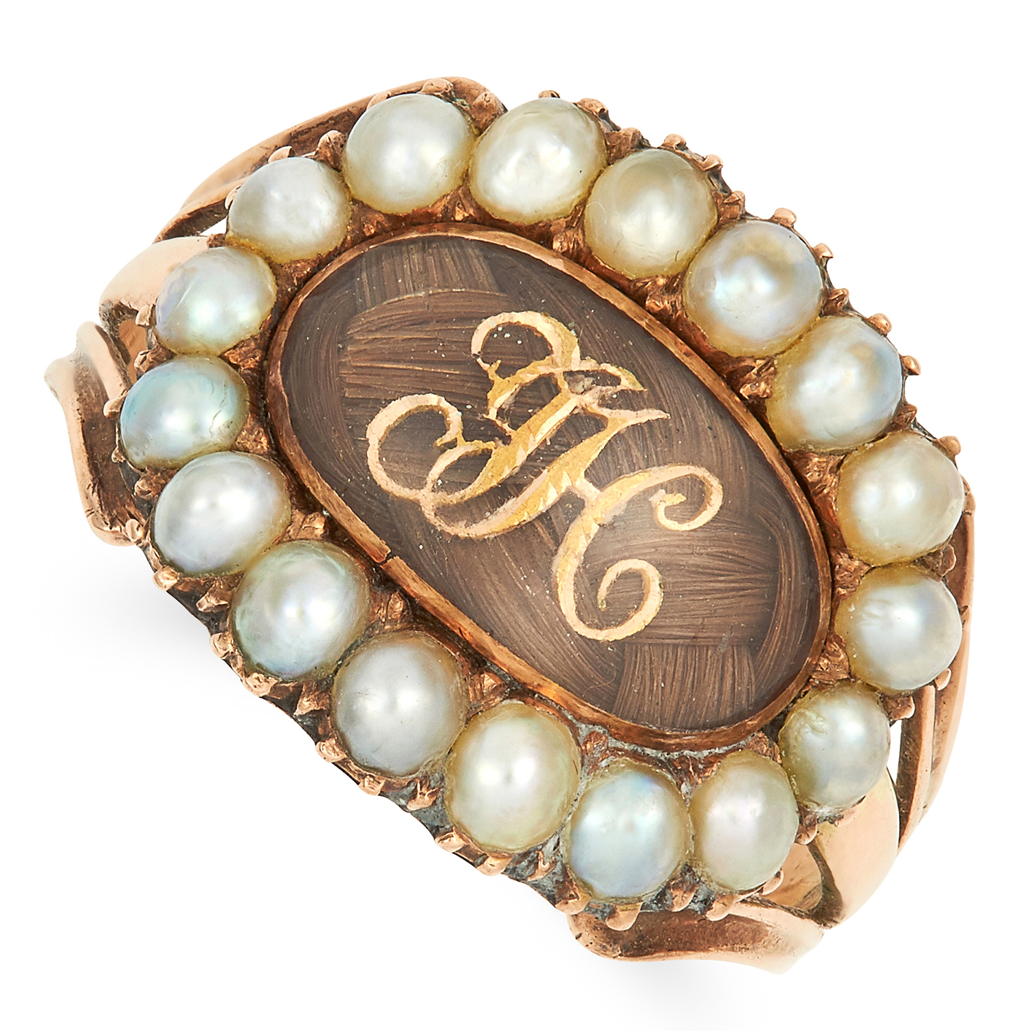 Los 59 - ANTIQUE HAIRWORK AND PEARL MOURNING RING CIRCA 1820 set with pearls and an oval panel of woven