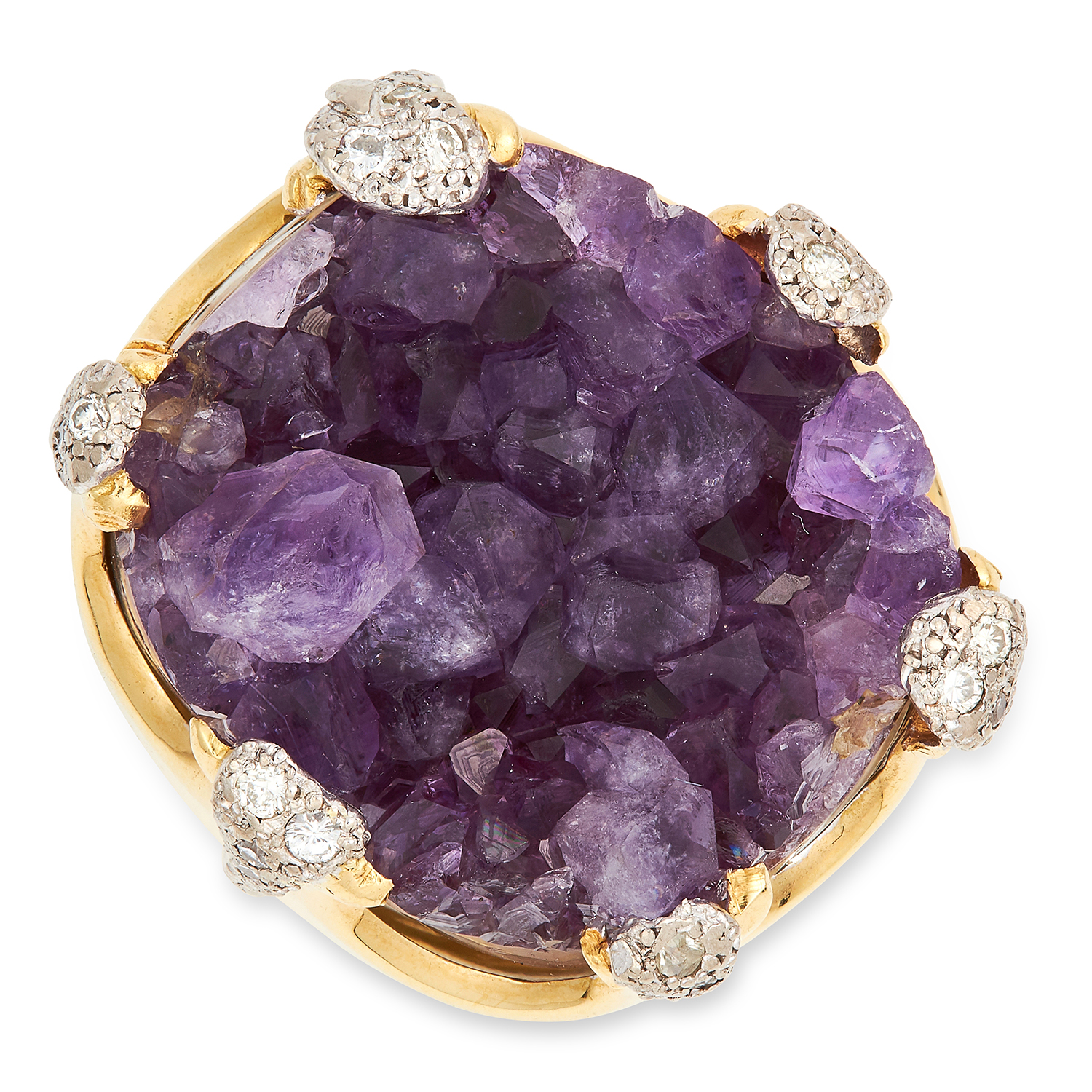 Los 35 - VINTAGE AMETHYST AND DIAMOND RING, ALBION CRAFT COMPANY 1971 set with a piece of amethyst crystal on