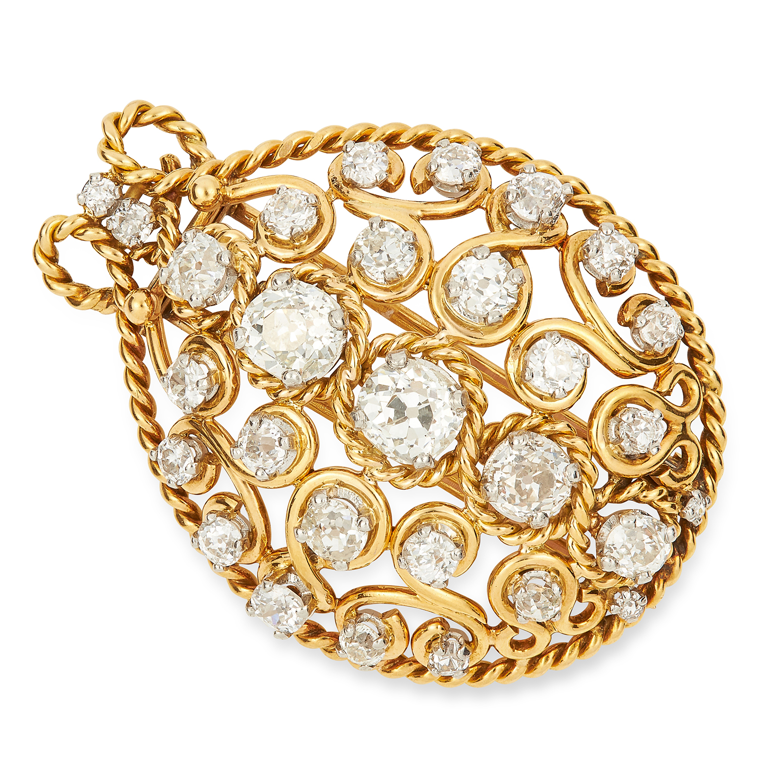 VINTAGE DIAMOND BROOCH / PENDANT set with old cut diamonds in open frame design, 4.0cm, 15.9g.