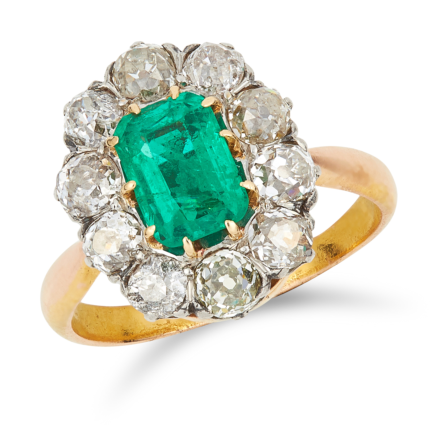 Los 39 - ANTIQUE COLOMBIAN EMERALD AND DIAMOND CLUSTER RING set with an emerald cut emerald of