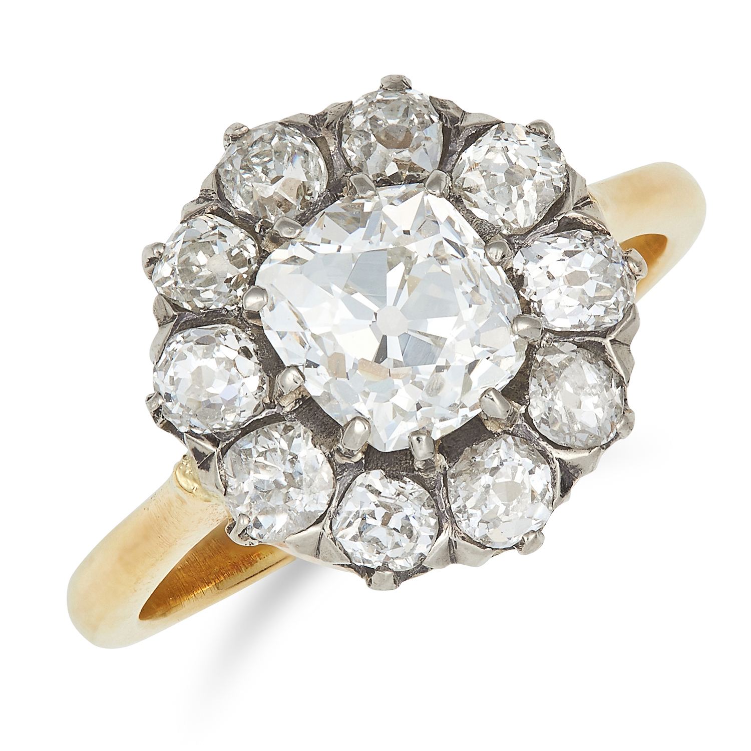 Los 9 - ANTIQUE 2.60 CARAT DIAMOND CLUSTER RING set with a central old cut diamond of 1.34 carats