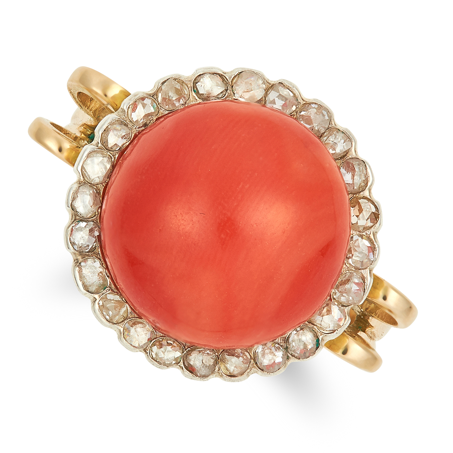 Los 57 - CORAL AND DIAMOND RING set with a circular coral bead of 12.4mm, and rose cut diamonds, size N /