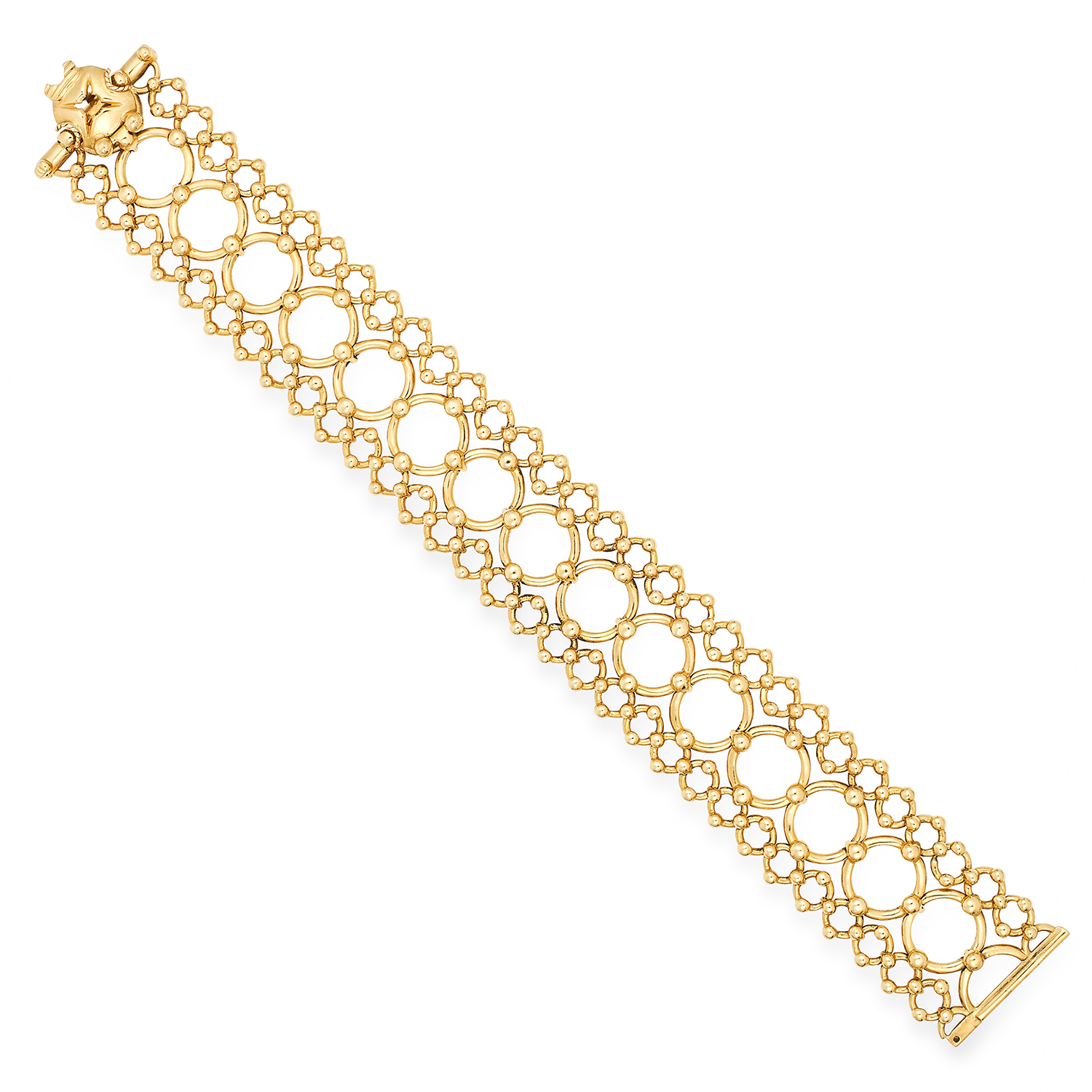 Los 31 - FANCY LINK GOLD BRACELET, TIFFANY & CO comprising of circular links accented by gold gold beads,