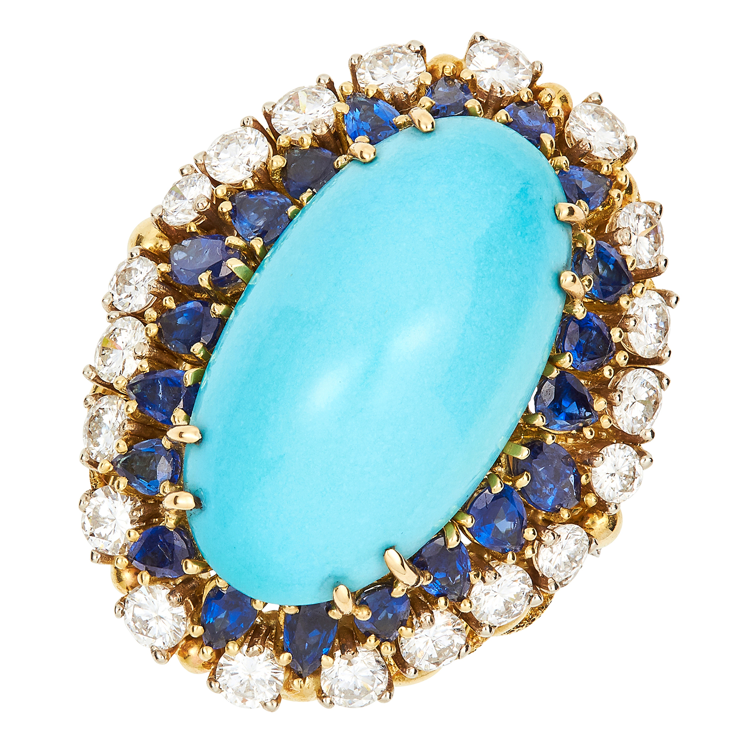 Los 33 - VINTAGE TURQUOISE, DIAMOND AND SAPPHIRE RING CIRCA 1970 set with an oval turquoise cabochon of 25.70