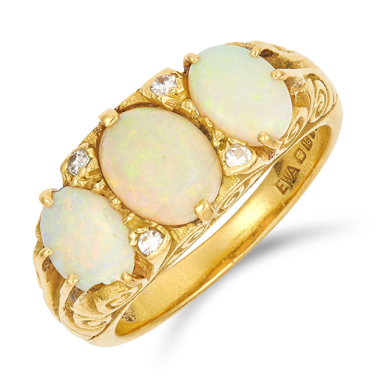 Los 46 - OPAL AND DIAMOND RING set with three graduated oval cabochon opals and round cut diamonds, size