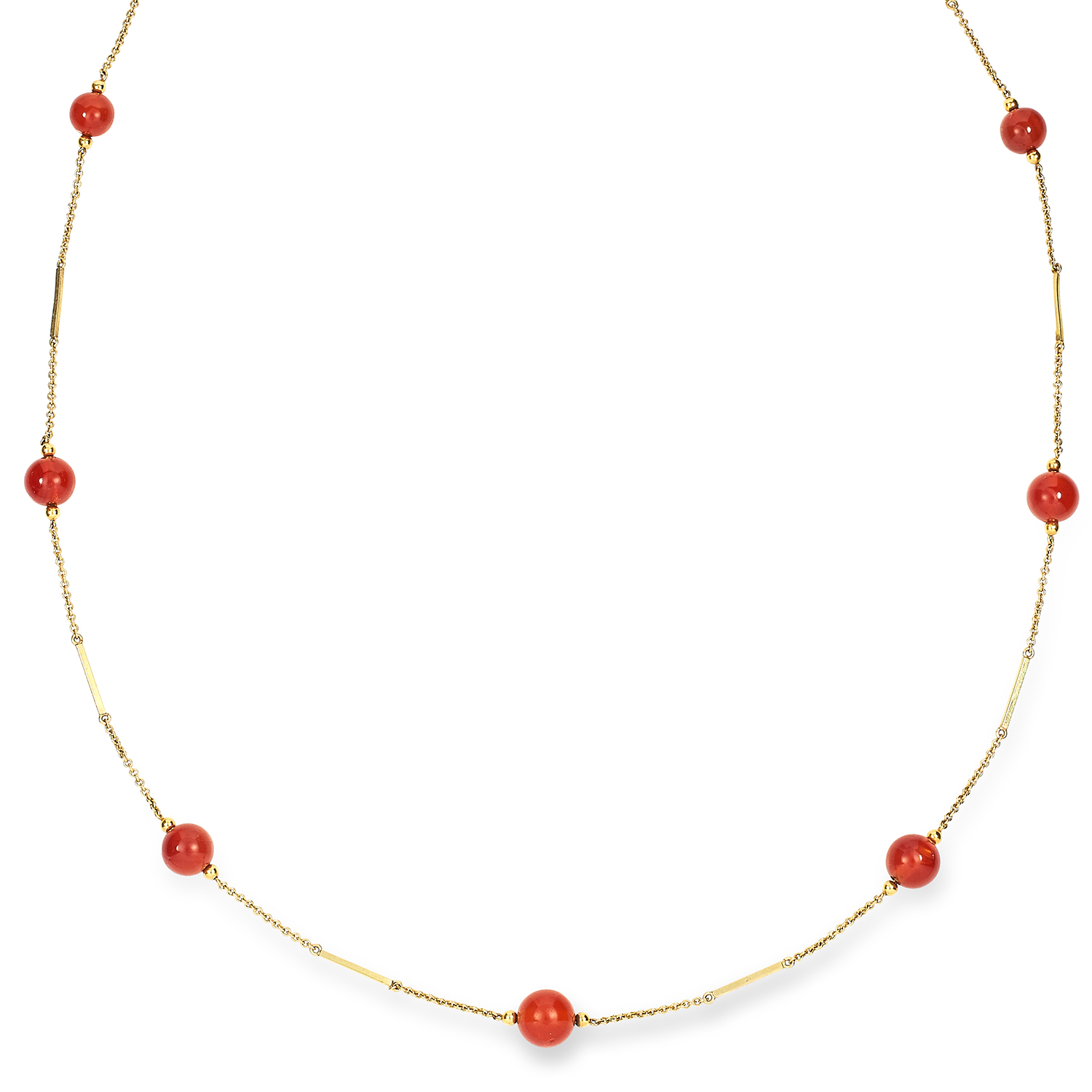 Los 25 - ANTIQUE CARNELIAN SAUTOIR NECKLACE the chain punctuated with graduated carnelian beads, 89.0cm, 15.