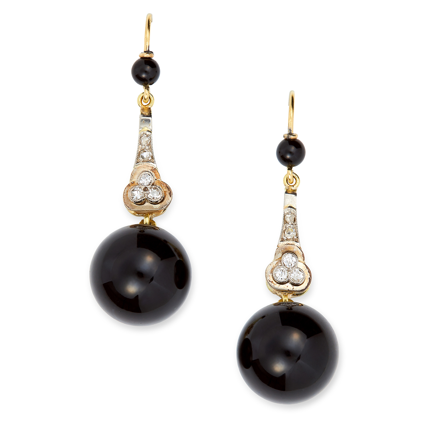 Los 56 - ART DECO ONYX AND DIAMOND EARRINGS set with rose and old cut diamonds, suspending onyx beads, 4.7cm,