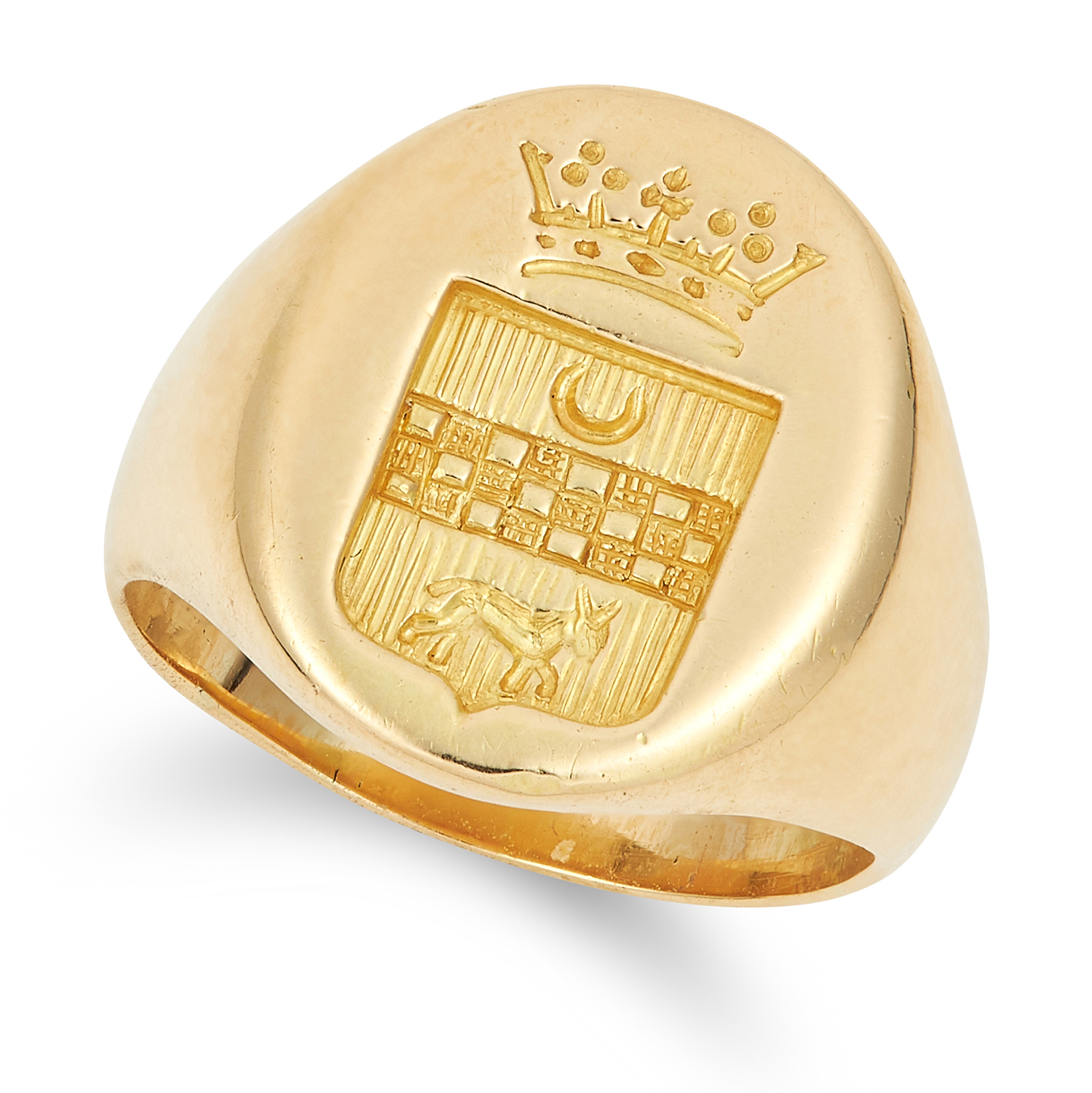Los 43 - ANTIQUE INTAGLIO SEAL SIGNET RING with engraved heraldic crest, size H / 3.5, 8.0g.