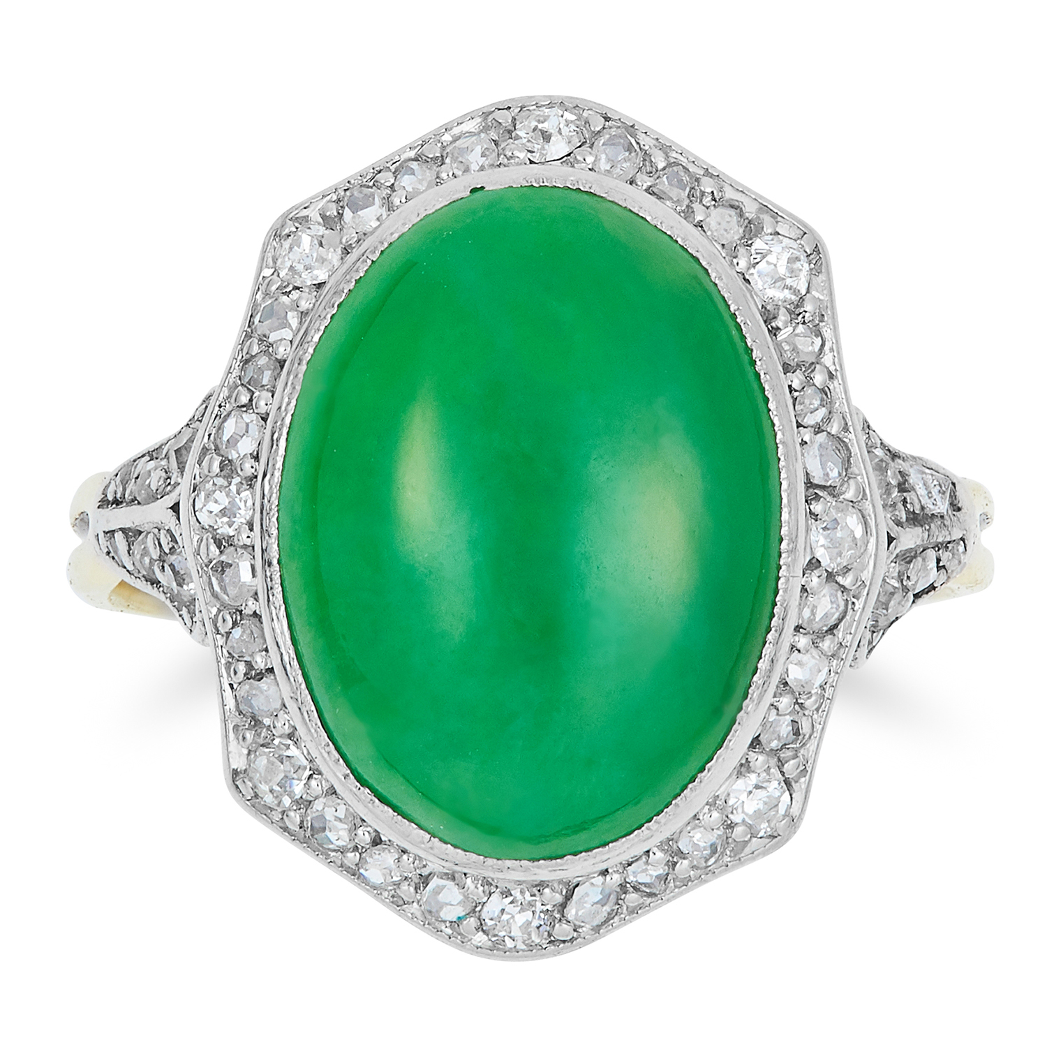 Los 637 - ART DECO JADE RING, set with a cabochon jade within a border of diamonds, size N / 6.5, 3.9g.