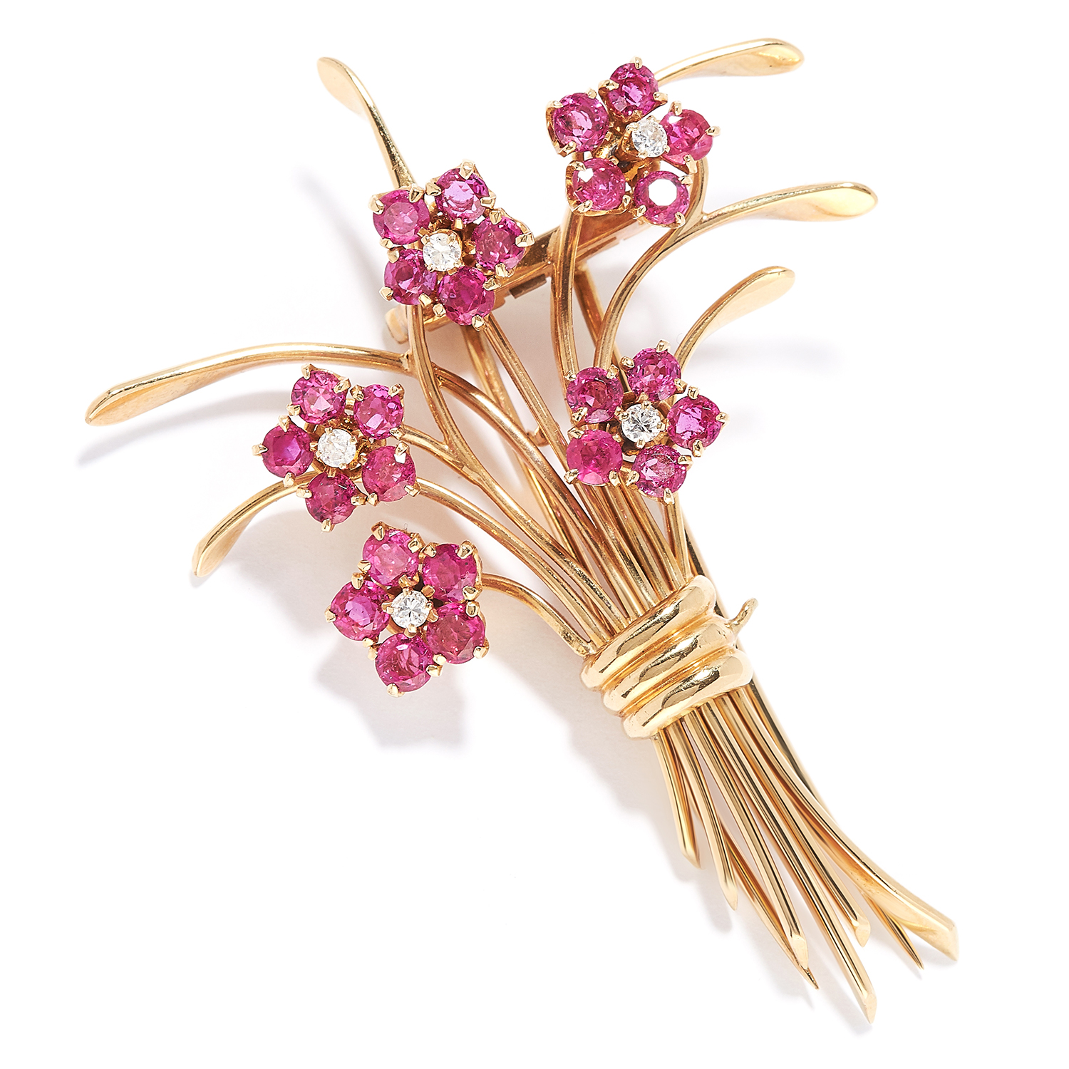 Los 37 - VINTAGE RUBY AND DIAMOND FORGET ME NOT FLOWER BROOCH BROOCH, ATTRIBUTED VAN CLEEF & ARPELS