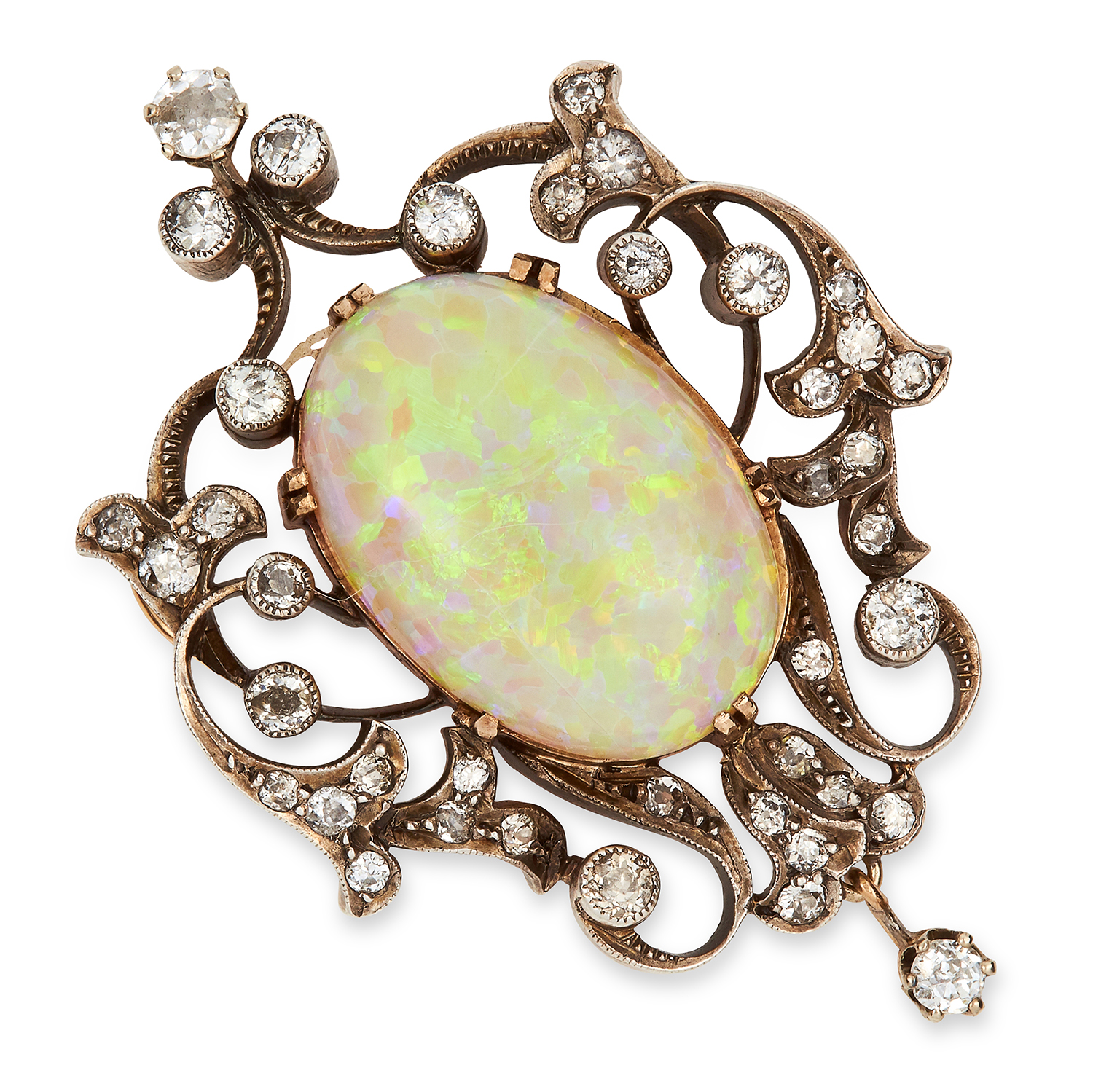 Los 4 - ANTIQUE OPAL AND DIAMOND PENDANT CIRCA 1870 set with an oval cabochon opal of 19.63 carats and old