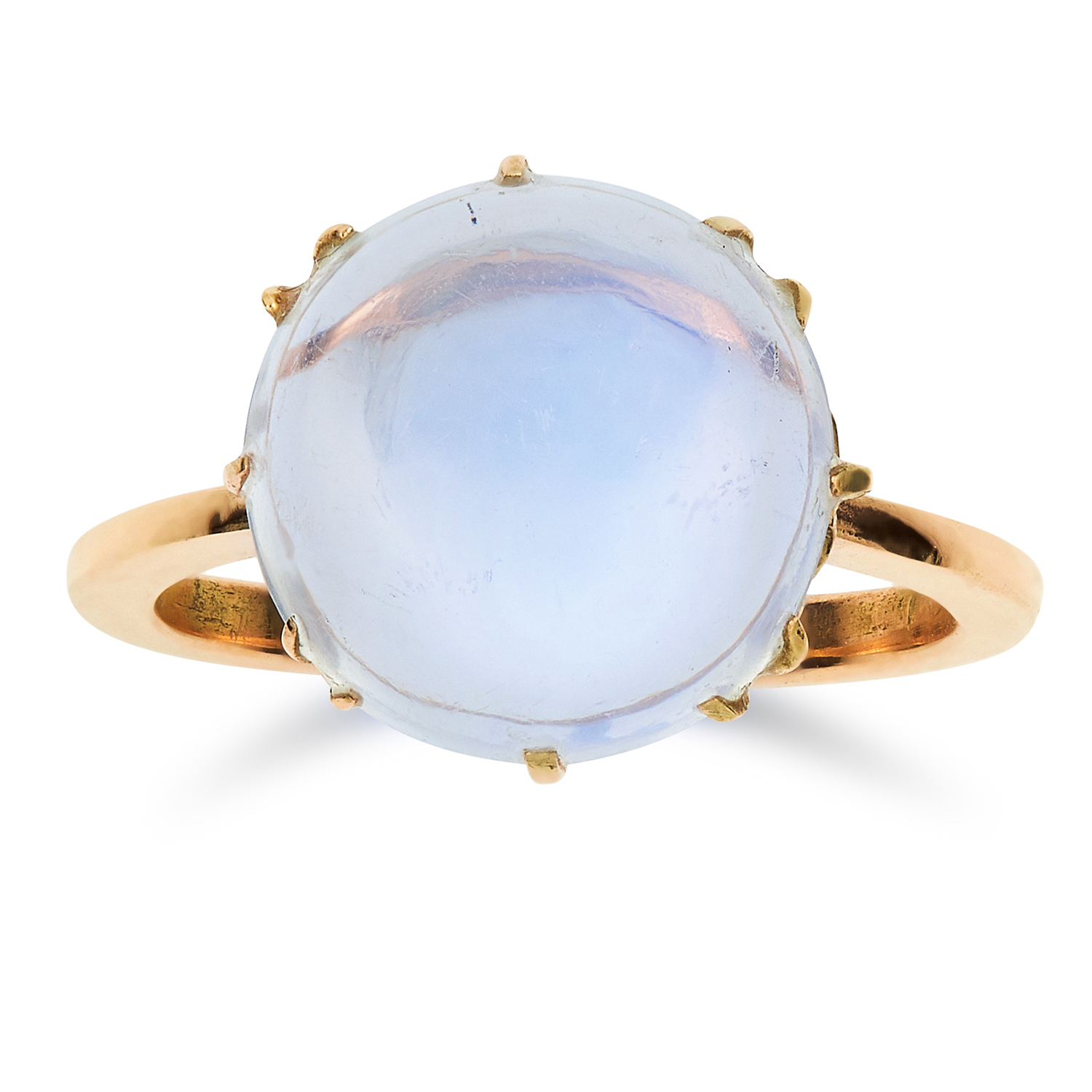 Los 15 - ANTIQUE MOONSTONE RING set with a circular cabochon moonstone of 5.80 carats, later shank, size
