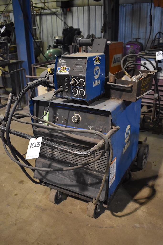 Lot 103 - Miller Deltaweld 302 CV-DC Welding Power Source, S/N KJ204846, Miller 60 Series 24V Wire Feeder