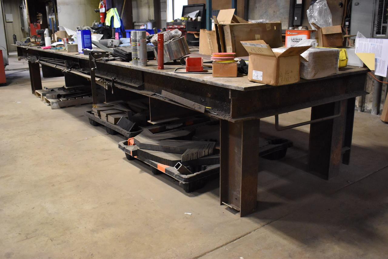 Lot 190 - 60 in. x 18 ft. 9 in. Heavy Duty Steel Welding Table
