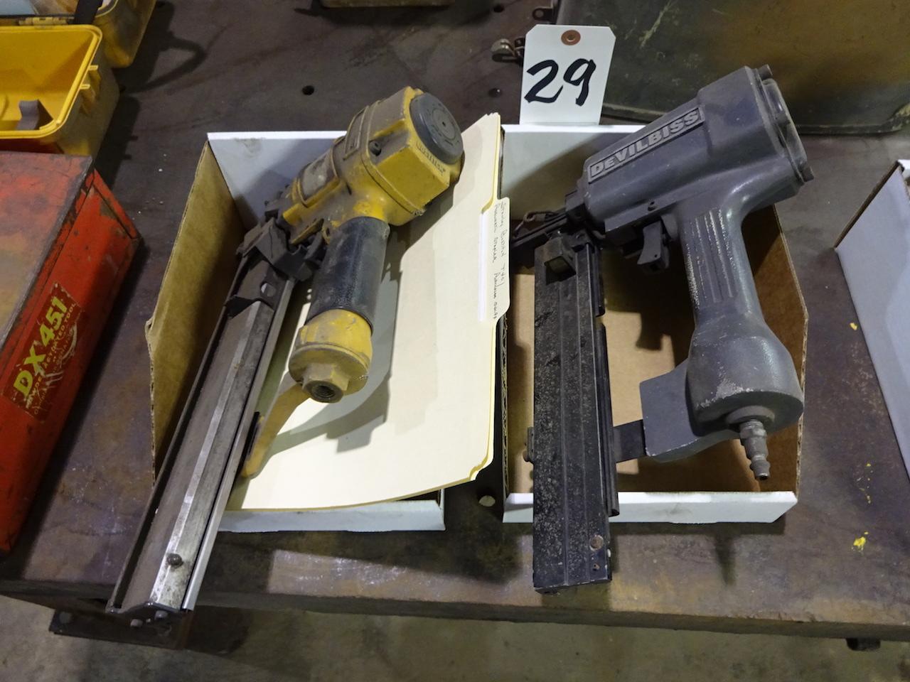 Lot 29 - LOT: Devilbiss & Stanley Bostitch Pneumatic Staple Guns