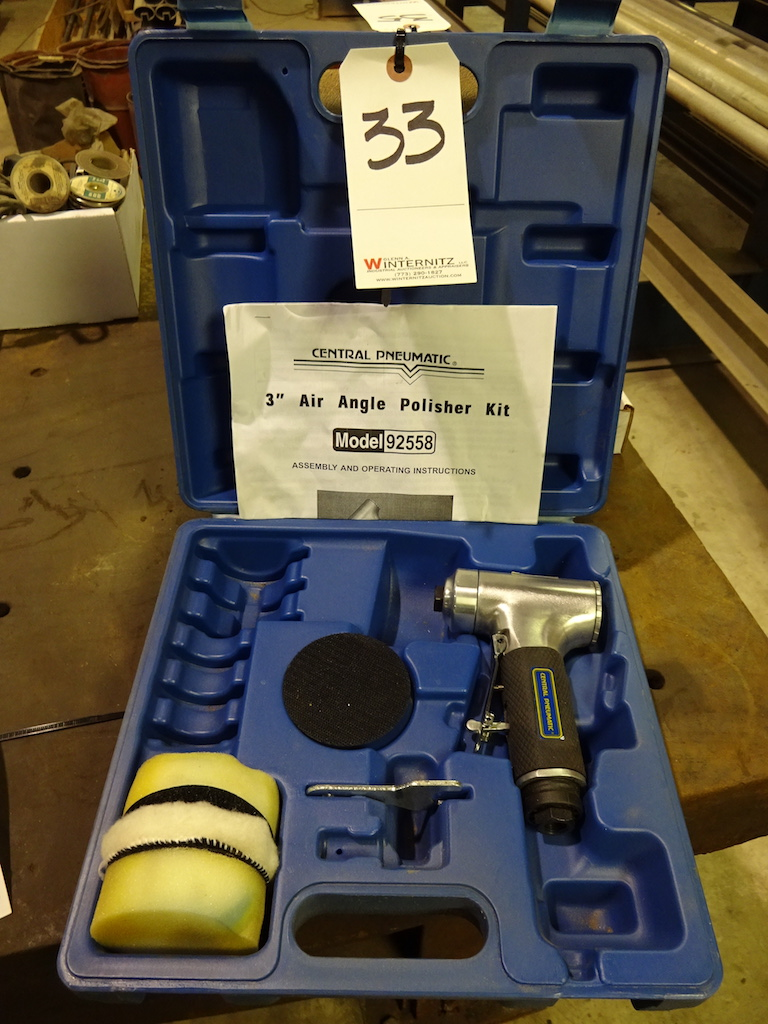 Lot 33 - Central Pneumatic 3 in. Air Angle Polisher Kit
