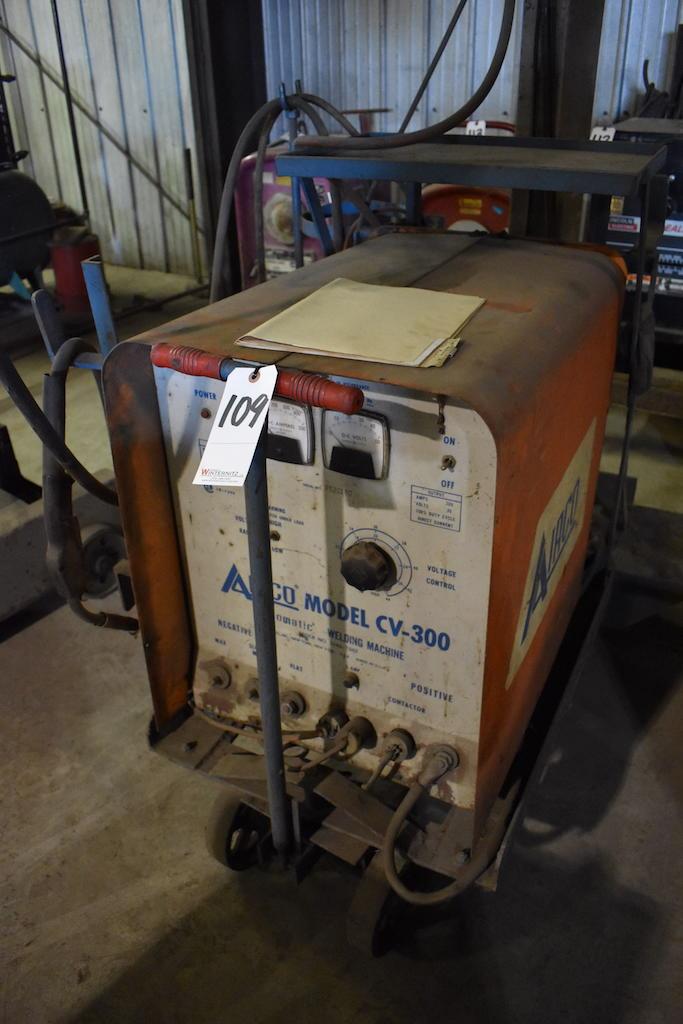 Lot 109 - Airco Model CV-300 Aircomatic Welding Machine, with Welding Cart & Bernard Tela-Boom with Airco Wire