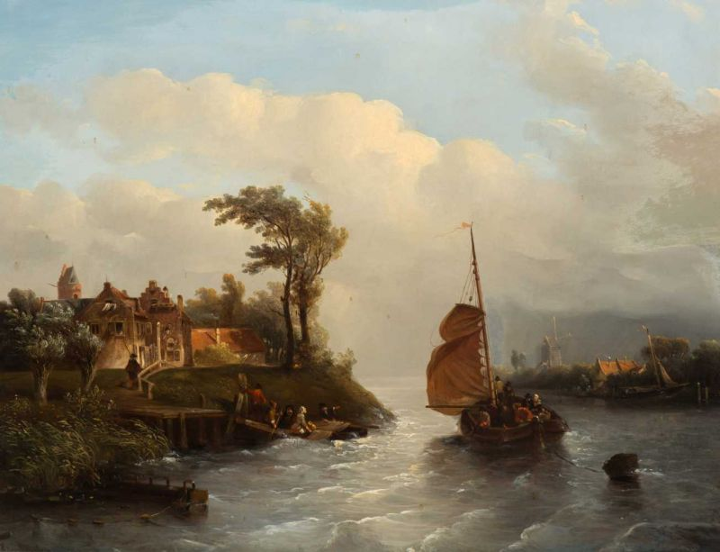 Lot 33 - Salomon Leonardus Verveer (The Hague 1813 - 1876) Dutch riverview with figures in boats in windy