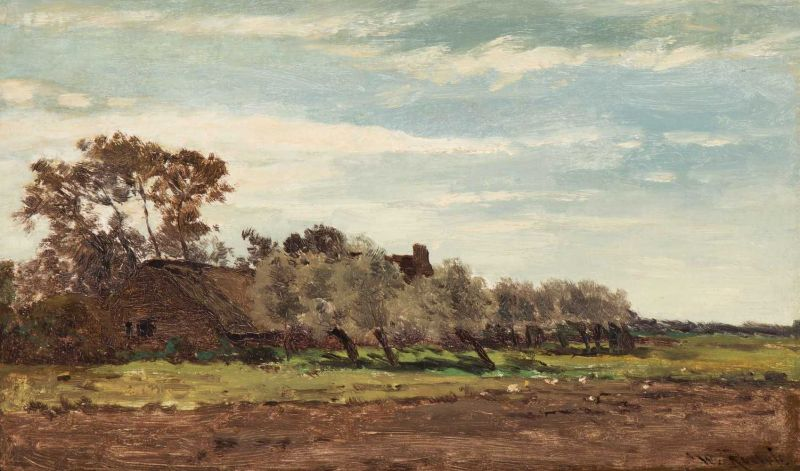 Lot 54 - Willem Roelofs (Amsterdam 1822 - Berchem 1897) Ferme à Laren, Gooiland - Hollande Signed l.r.