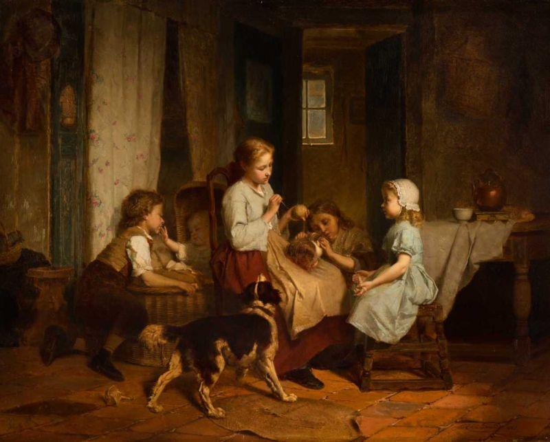 Lot 14 - Théodore Gérard (Ghent 1829 - Laken 1895) Scène de famille Signed and dated 1865 l.r. Declaration