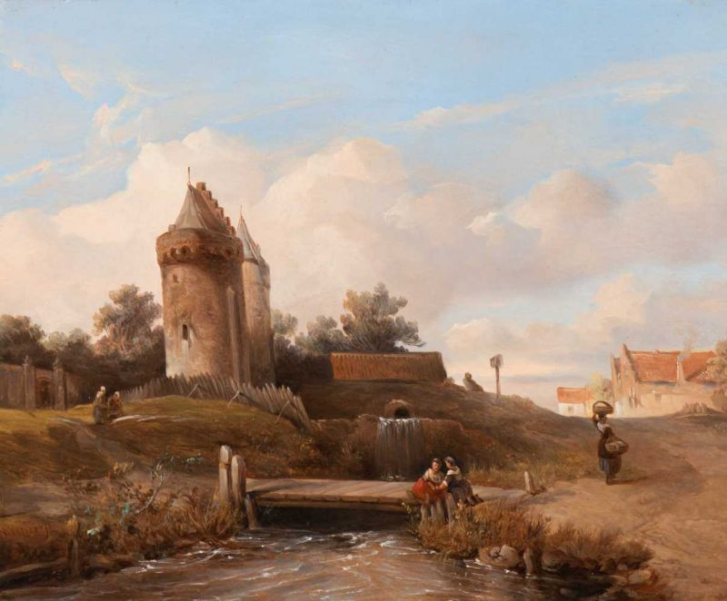 Lot 32 - Salomon Leonardus Verveer (The Hague 1813 - 1876) Washerwomen by a brook near a castle (ca. 1836-