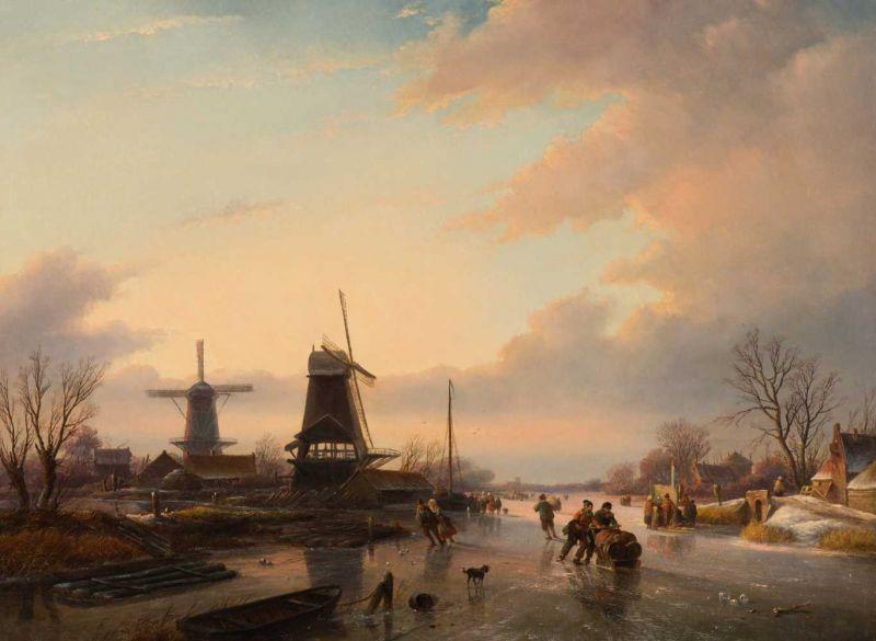 Lot 27 - Jan Jacob Spohler (Nederhorst den Berg 1811 - Amsterdam 1866) Merriment by the mill with skaters