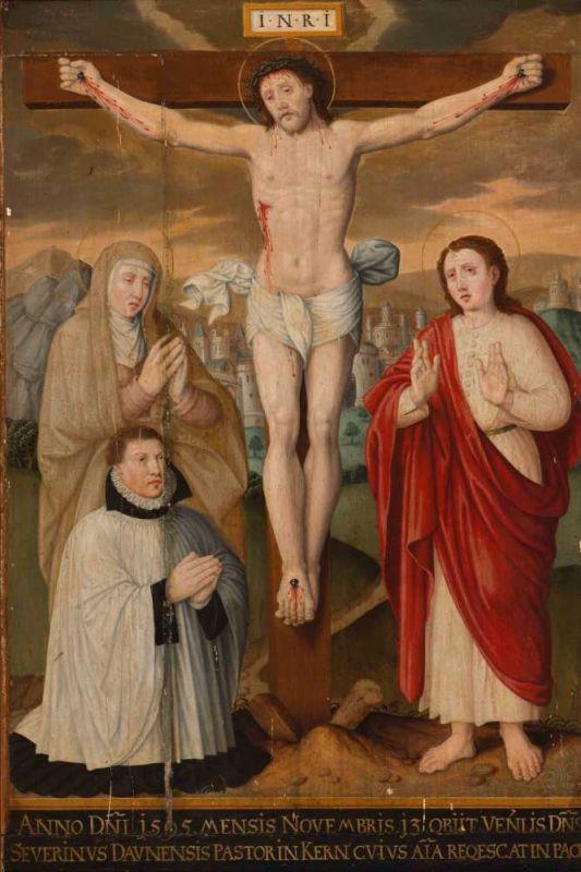 Lot 7 - German School (Circa 1595) Altarpiece in commemoration of Severinus Daunensis, Pastor in Kern