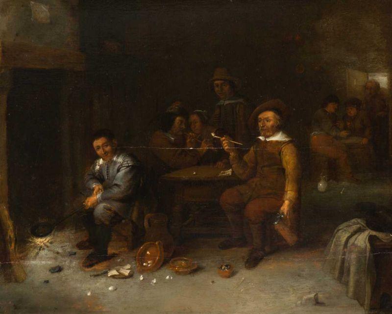 Lot 12 - Circle of Gillis van Tilborgh (Brussels 1615/1635 - 1675/1681) Pan eÿren Dated 1645 and titled u.l.