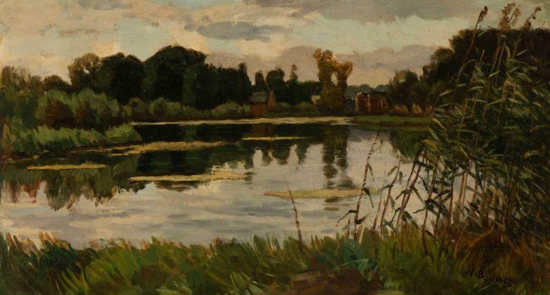 Lot 52 - Nicolaas Bastert (Maarsseveen 1854 - Loenen aan de Vecht 1939) Afternoon on the river Vecht Signed