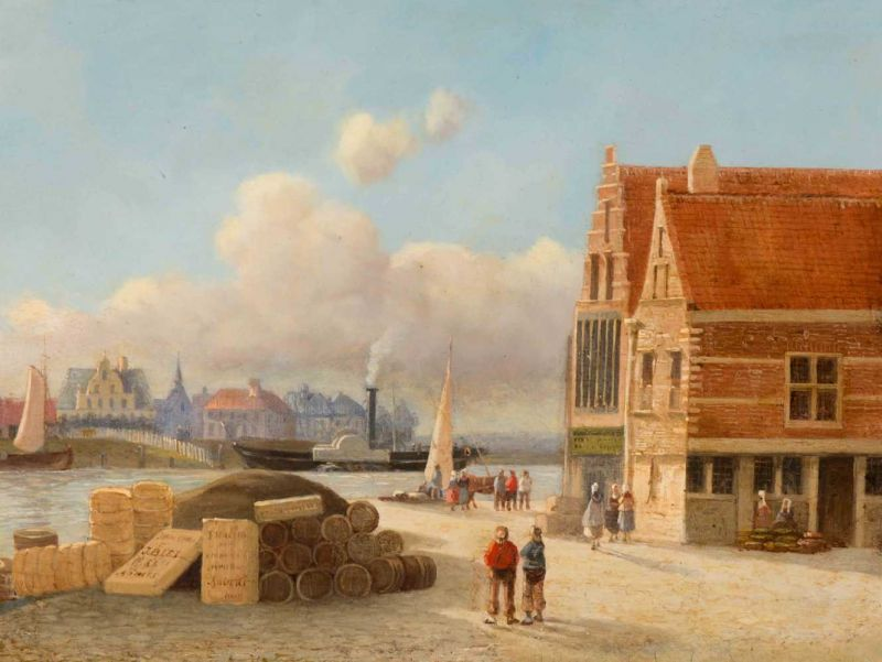 Lot 46 - Joseph Bles (The Hague 1825 - 1875) Activity on the quay in Antwerp Signed l.l. Oil on panel, 22 x