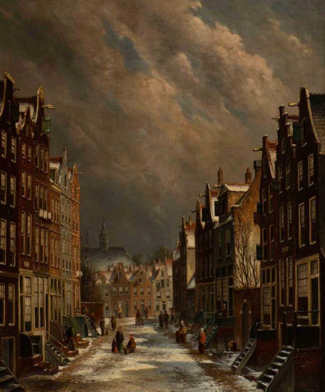 Lot 37 - Oene Romkes de Jongh (Makkum 1812 - Amsterdam 1896) A snow covered street in winter Signed l.r. Oil