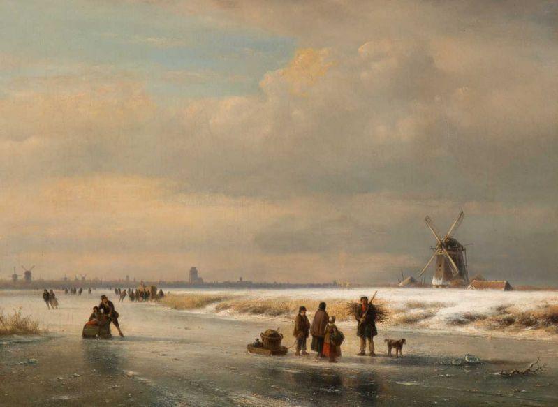 Lot 23 - Lodewijk Johannes Kleijn (Loosduinen 1817 - The Hague 1897) Icescape with 'koek-en-zopie-tent' and