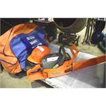 Husqvarna petrol chain saw, model 66, engine seized, Husqvarna safety helmet and safety clothing -