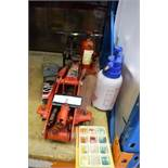 Assorted auto equipment including Sealey trolley jack, bottle jack, wheel jack, spares etc. -