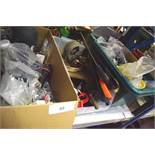 4 x boxes of assorted tools including 240V spindle, external spotlight, padlocks etc. (GS23)