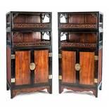 Paar feine Kabinette aus verschiedenen Harthölzern, u.a. Zhazhenmu