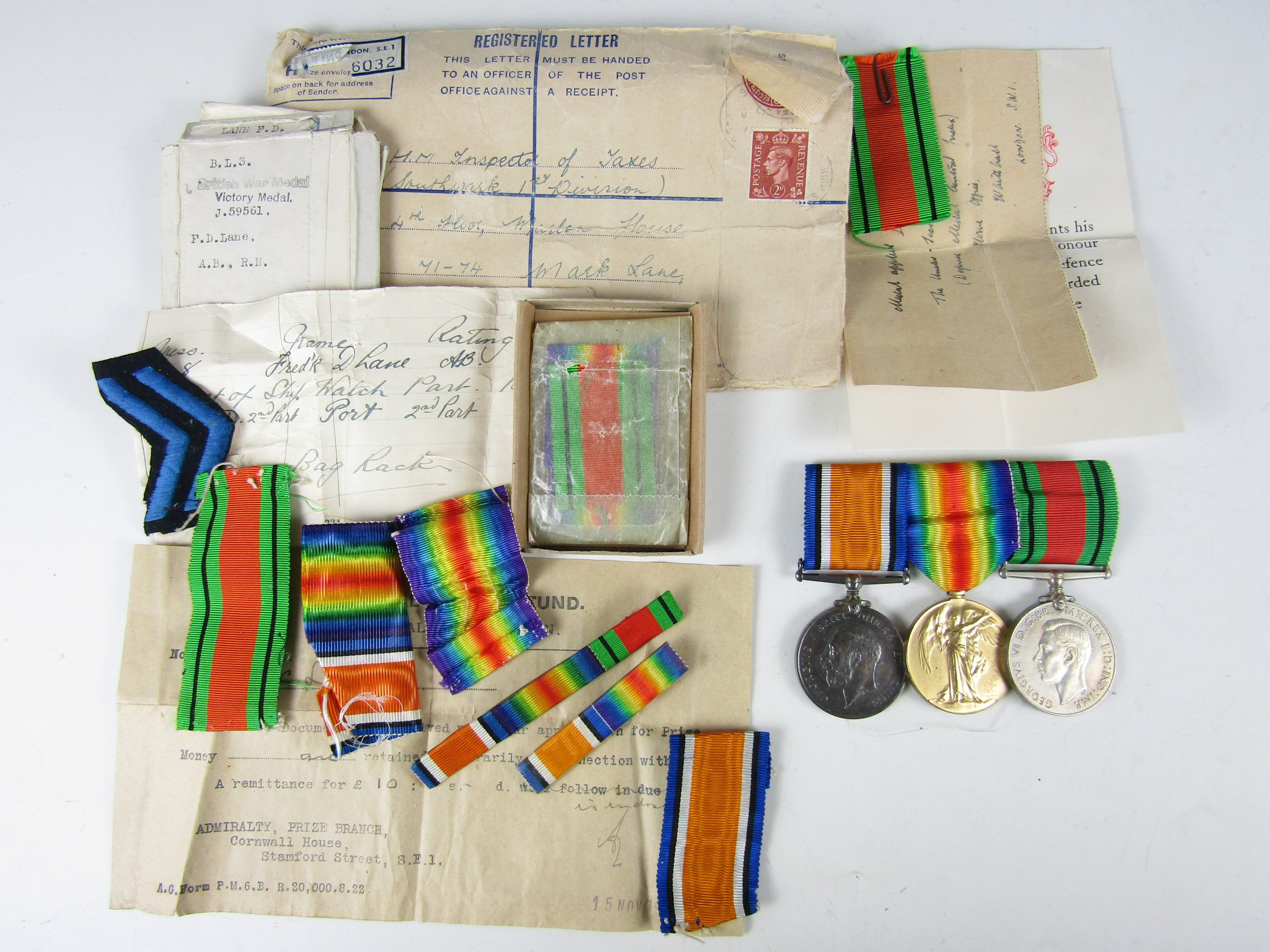 Lot 54 - A Great War and Second World War medal group comprising British War and Victory medals to J. 59561 F