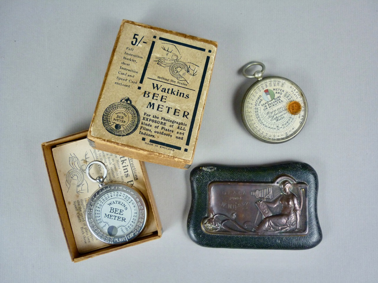 Lot 21 - [Photography / Camera] An Edwardian photographic association paperweight, leather covered and