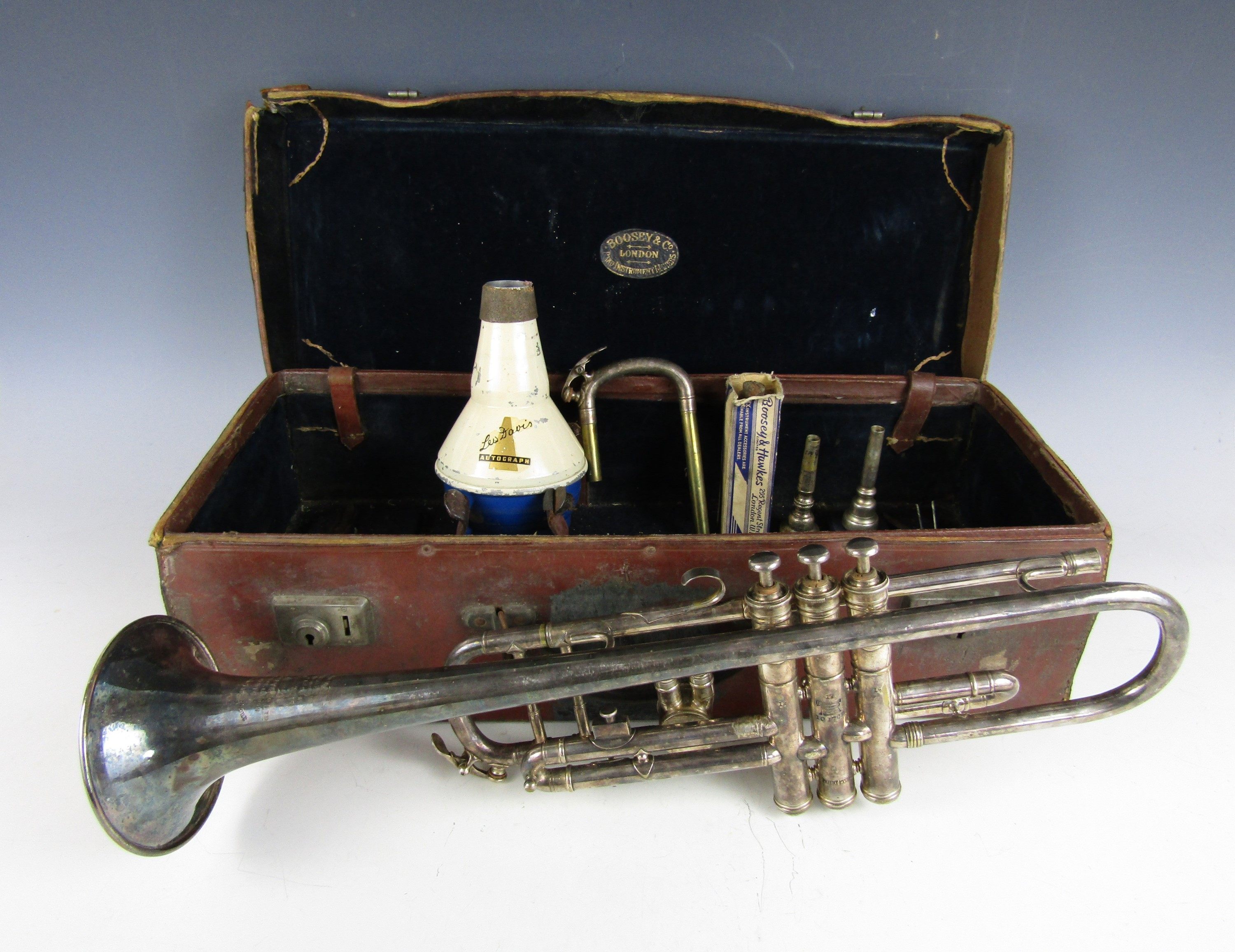 Lot 32 - A cased Boosey and Hawkes silver plated trumpet, patent No. 193729