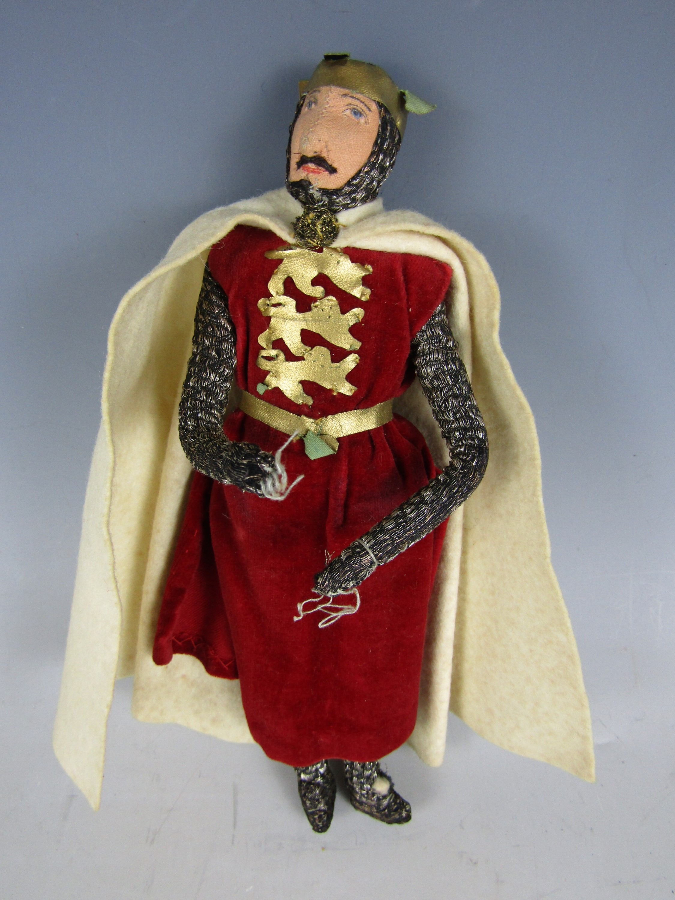 Lot 35 - A late 1930s Kimport Doll of Richard the Lionheart, hand constructed in cloth, and dressed in period
