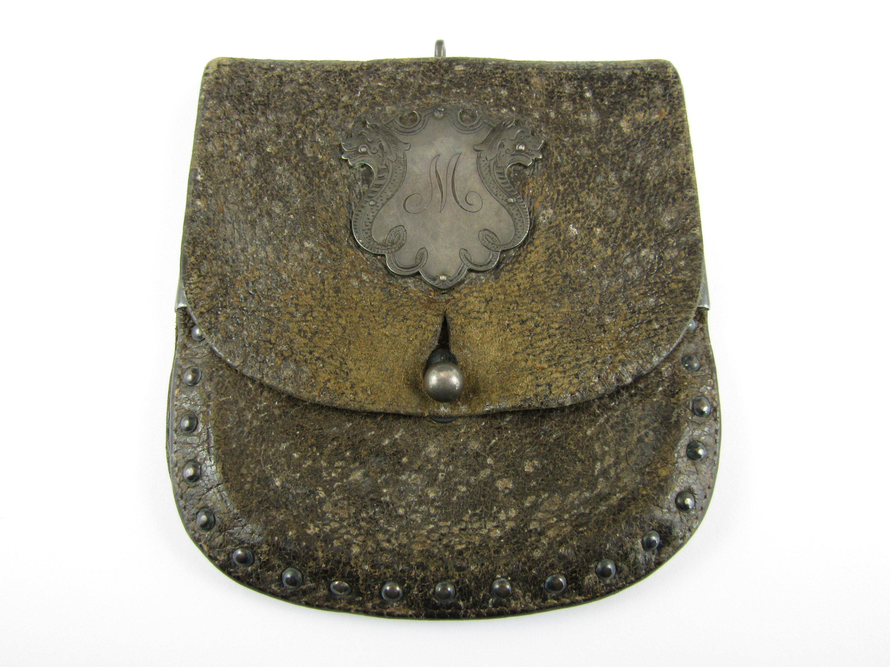 Lot 2 - A late 18th / early 19th Century white metal mounted leather purse, 11 cm x 11 cm