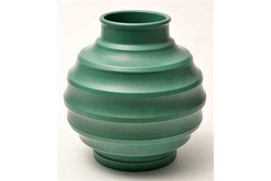 Keith Murray For Wedgwood A Football Vase Of Horizontal Ribbed