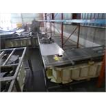 bucket elevator conveyor, s/s, approx. 7 ft horizontal base x 16 ft vertical x 10 ft top horizontal,