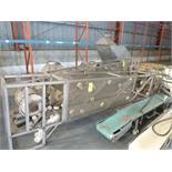 bucket elevator conveyor, s/s, approx. 5 ft horizontal base x 18 ft vertical x 14 ft top horizontal,