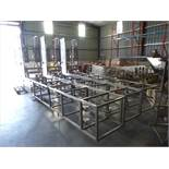 bucket elevator conveyor, s/s, approx. 8 ft horizontal base x 18 ft vertical x 12 ft top horizontal,