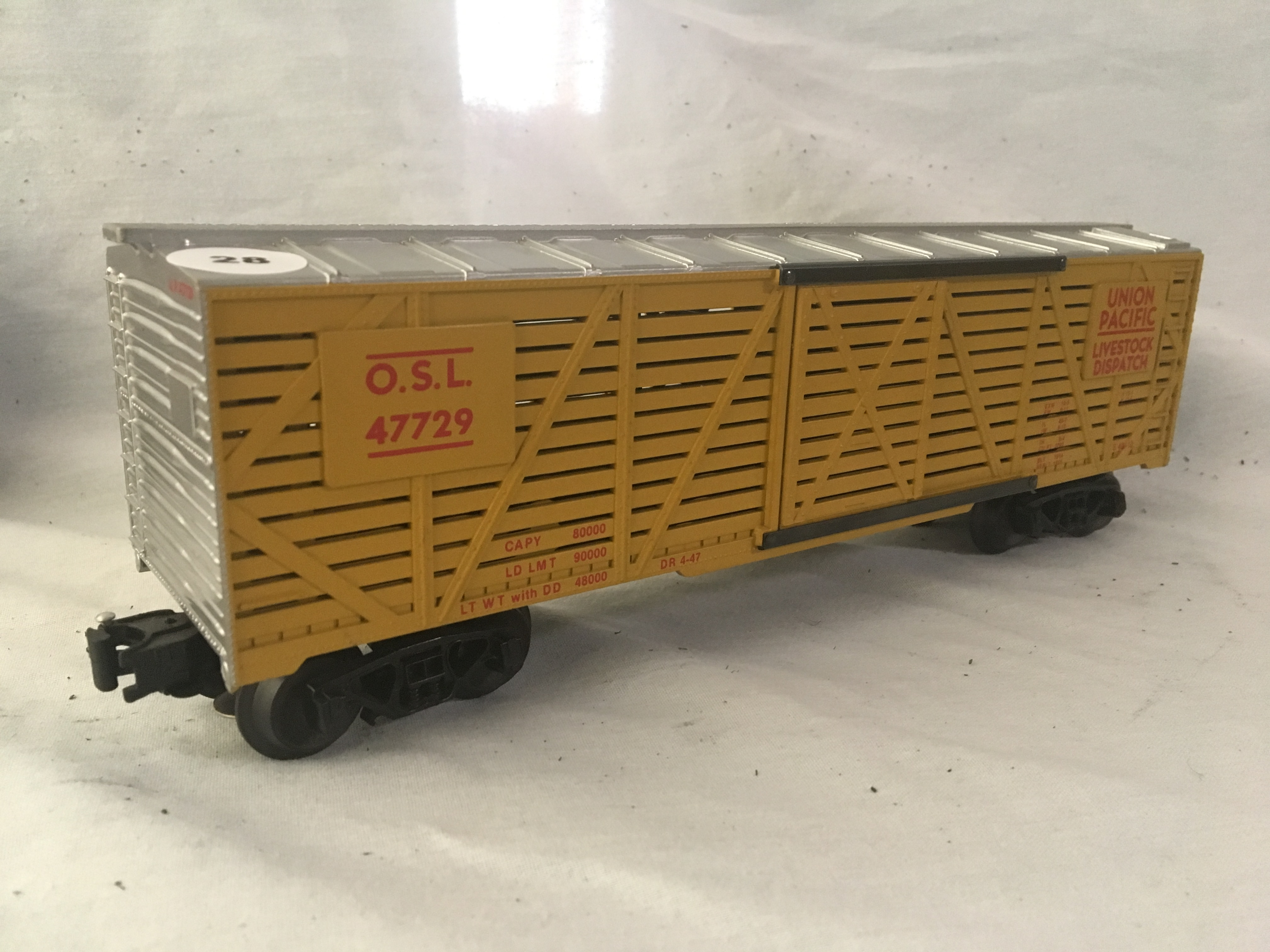 Lot 28 - #47729 O.S.L. Union Pacific Livestock Dispatch with Live Action Sound